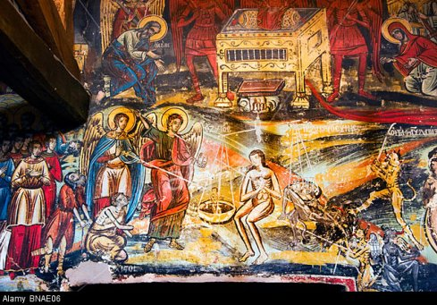 BNAE06 Fresco depicting good deeds being weighed against sins on the day of judgement in Pammegiston Taxiarchon church Milies Pelion